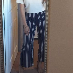 Pants - Stripped Wide Cropped Pant